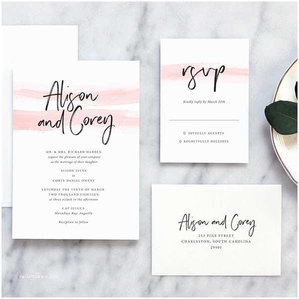 Wedding Invitations Austin Color Wash Modern Wedding Invitations Fine Day Press