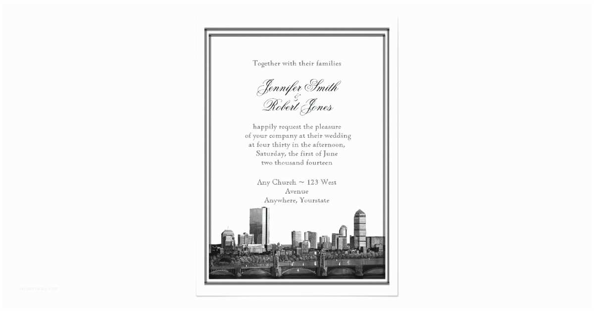Wedding Invitations Boston Boston Destination Wedding Invitation