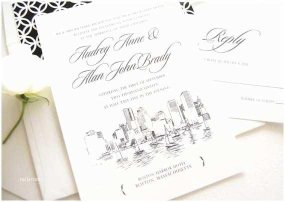 Wedding Invitations Boston Boston Skyline Hand Drawn Wedding Invitation Boston Wedding