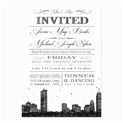 Wedding Invitations Boston Boston Skyline Wedding Invitation