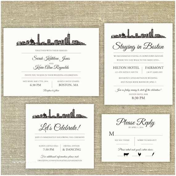 Wedding Invitations Boston Boston Skyline Wedding Invitation Sample Ly Skyli