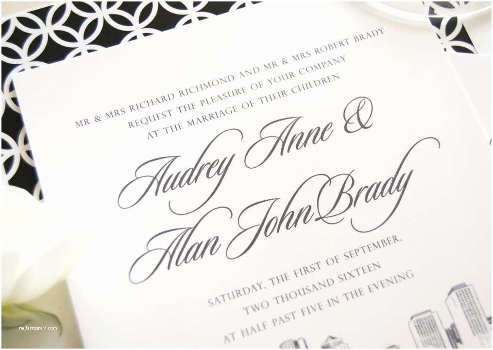 Wedding Invitations Boston Boston Skyline Wedding Invitations