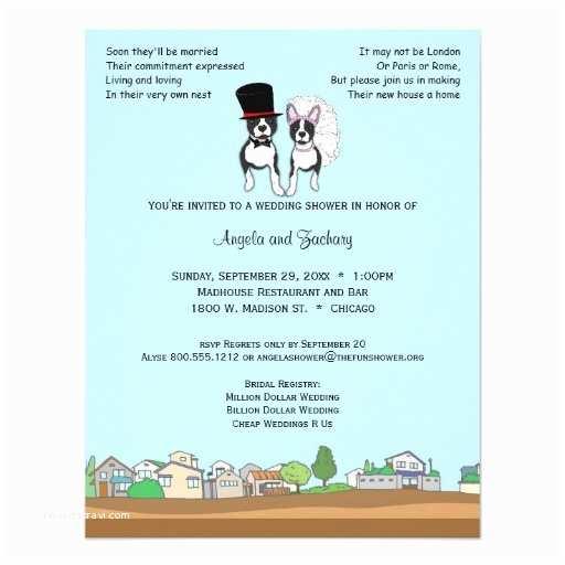 Wedding Invitations Boston Bride and Groom Boston Terrier Wedding Shower 4 25x5 5
