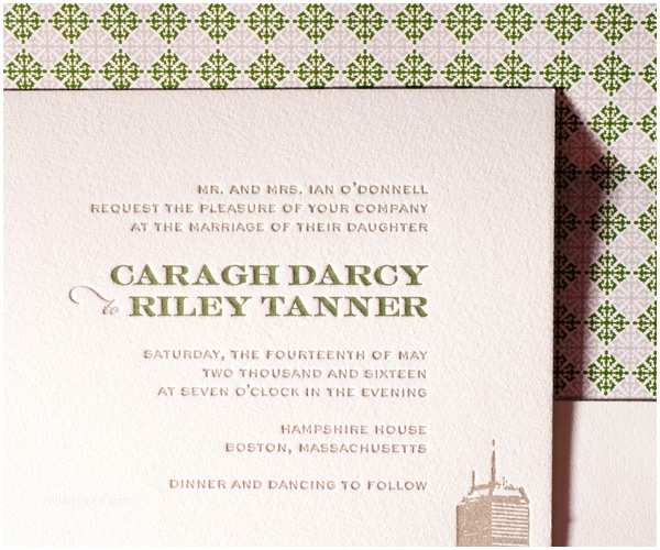 Wedding Invitations Boston Letterpress Wedding Invitations