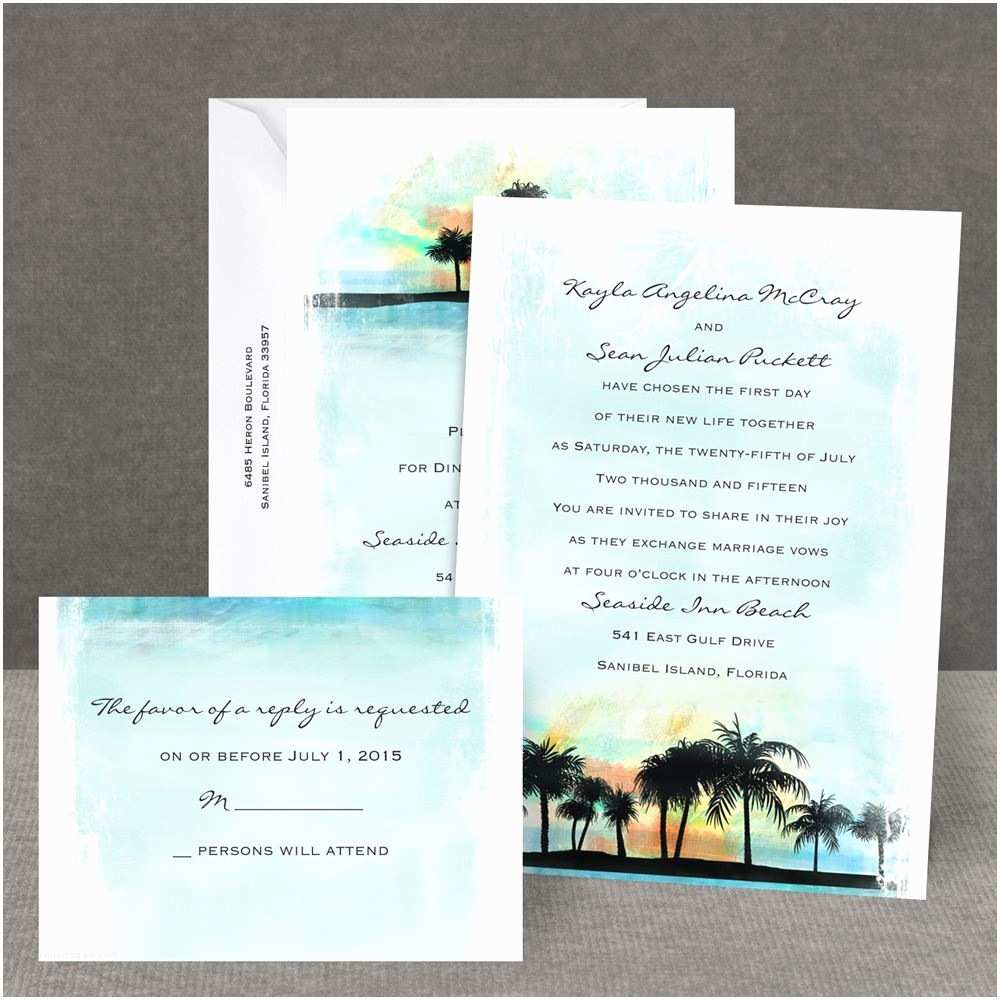 Wedding Invitations by Dawn Tropical Watercolors All In E Invitation