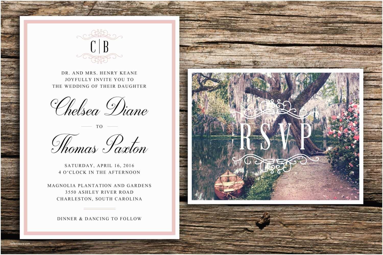 Wedding Invitations Charleston Sc southern Gardens Wedding Invitation Charleston Garden