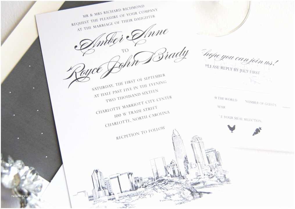 Wedding Invitations Charlotte Nc Charlotte Skyline Wedding Invitations