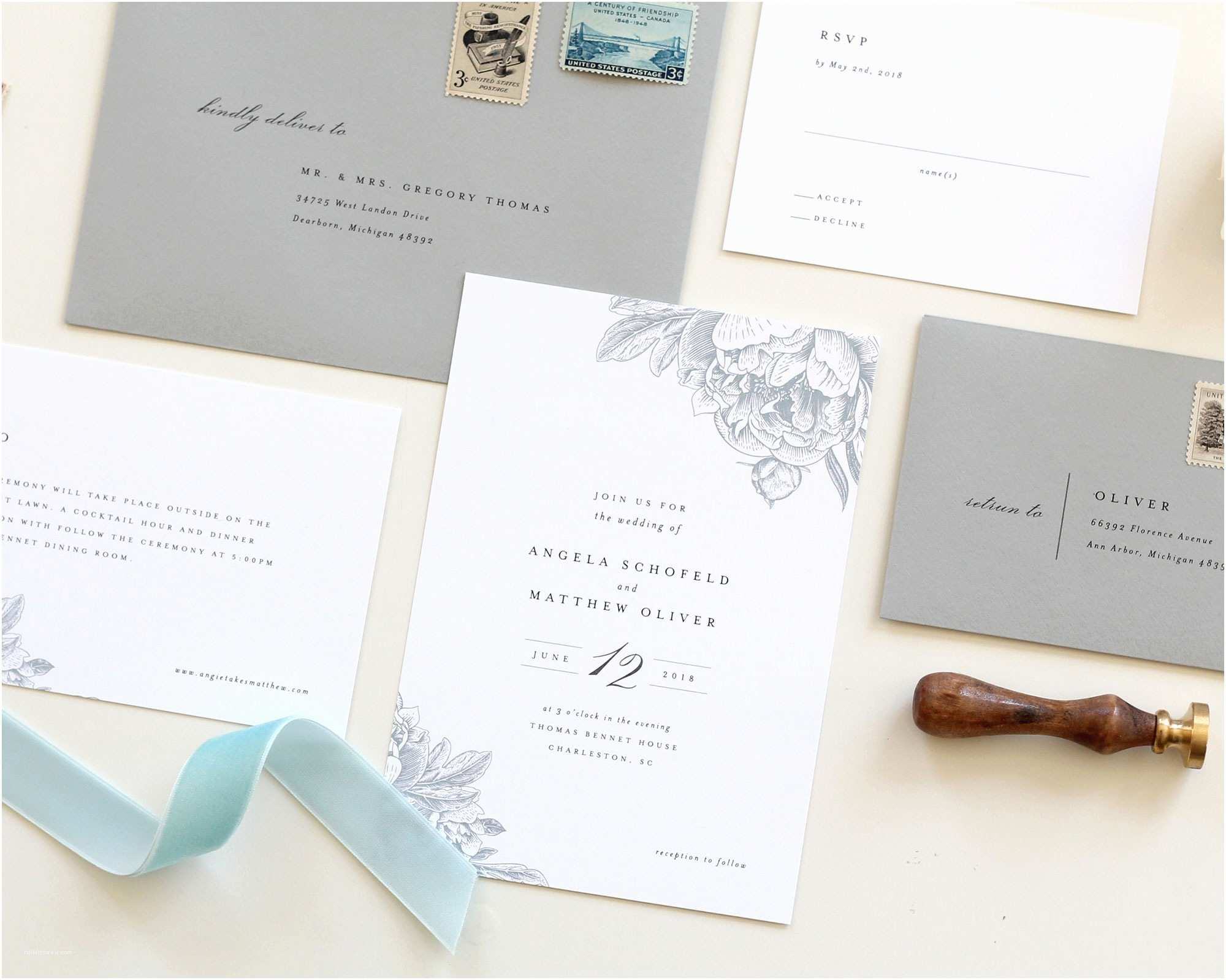 Wedding Invitations Charlotte Nc Dusty Blue Wedding Invitations