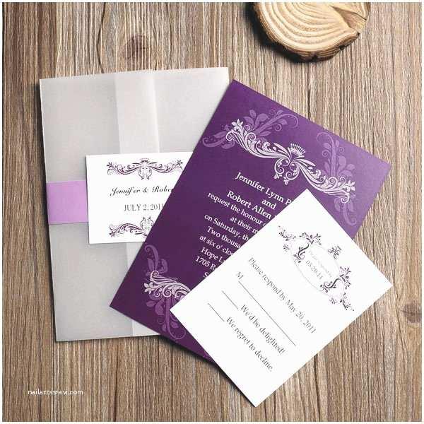 Wedding Invitations Cheap Affordable Vintage Purple Vellum Paper Pocket Wedding