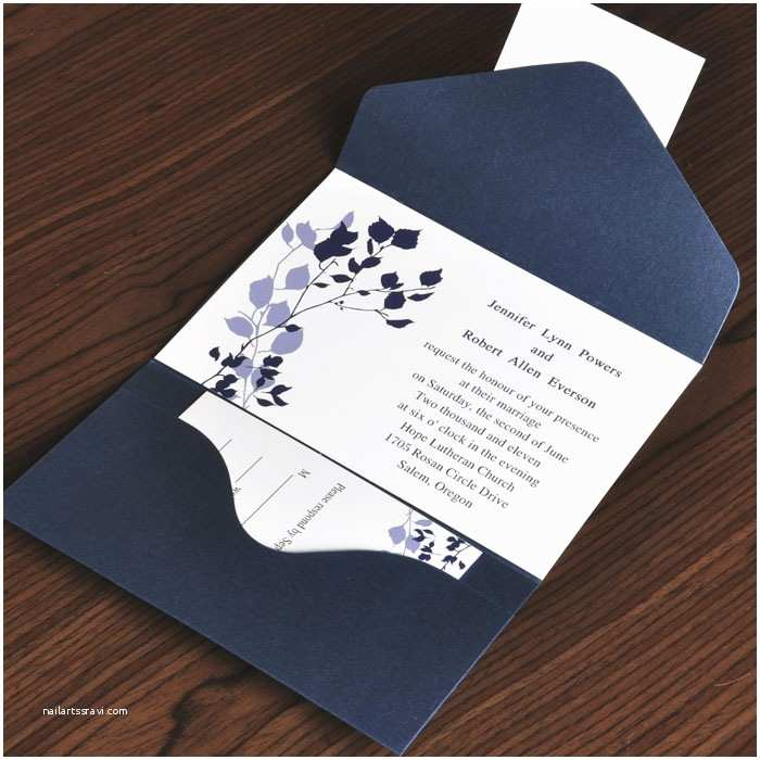Wedding Invitations Cheap Country Rustic Style Floral and Navy Blue Pocket