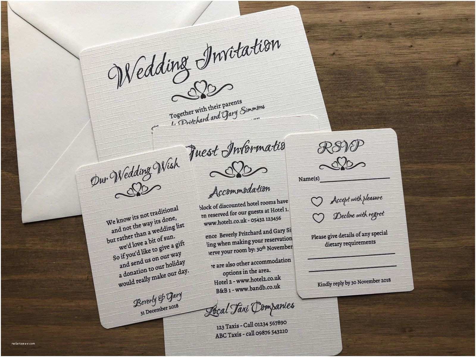 Wedding Invitations Cheap Packs Personalised Wedding Day evening Invitation Pack Of 10