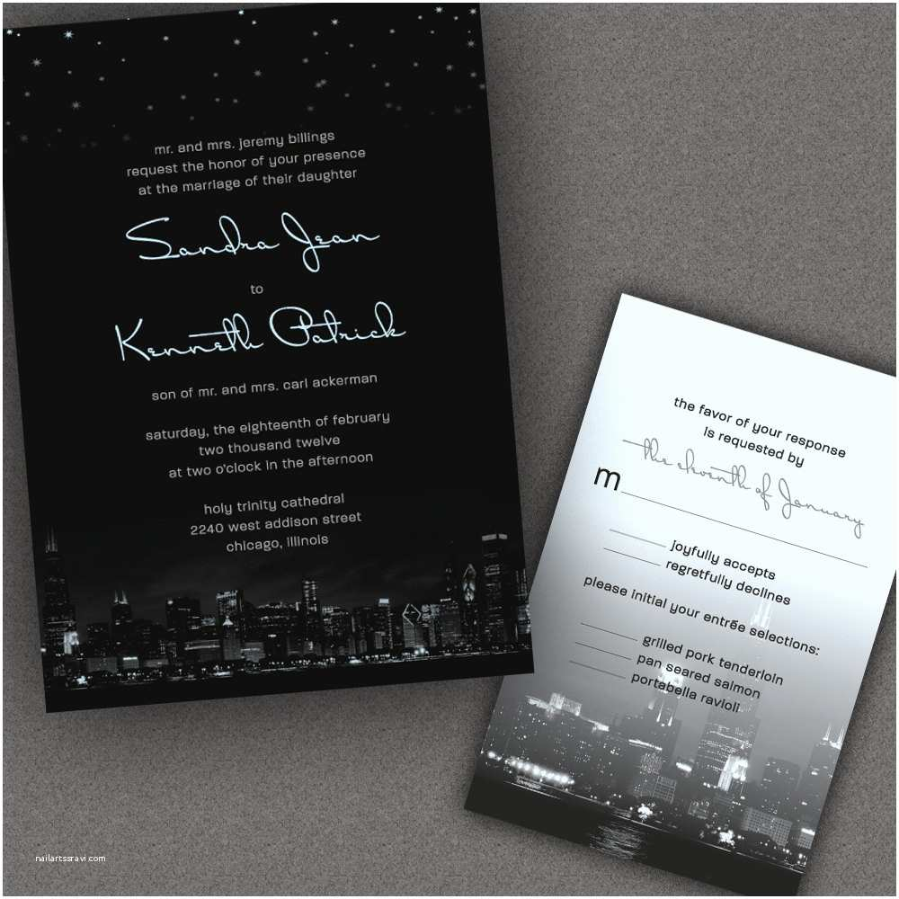 Wedding Invitations Chicago Chicago City Skyline Wedding Invitations with Night by
