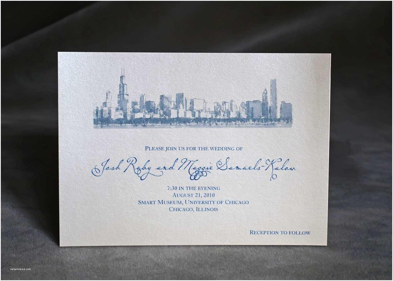Wedding Invitations Chicago Chicago Skyline Wedding Invitation Custom
