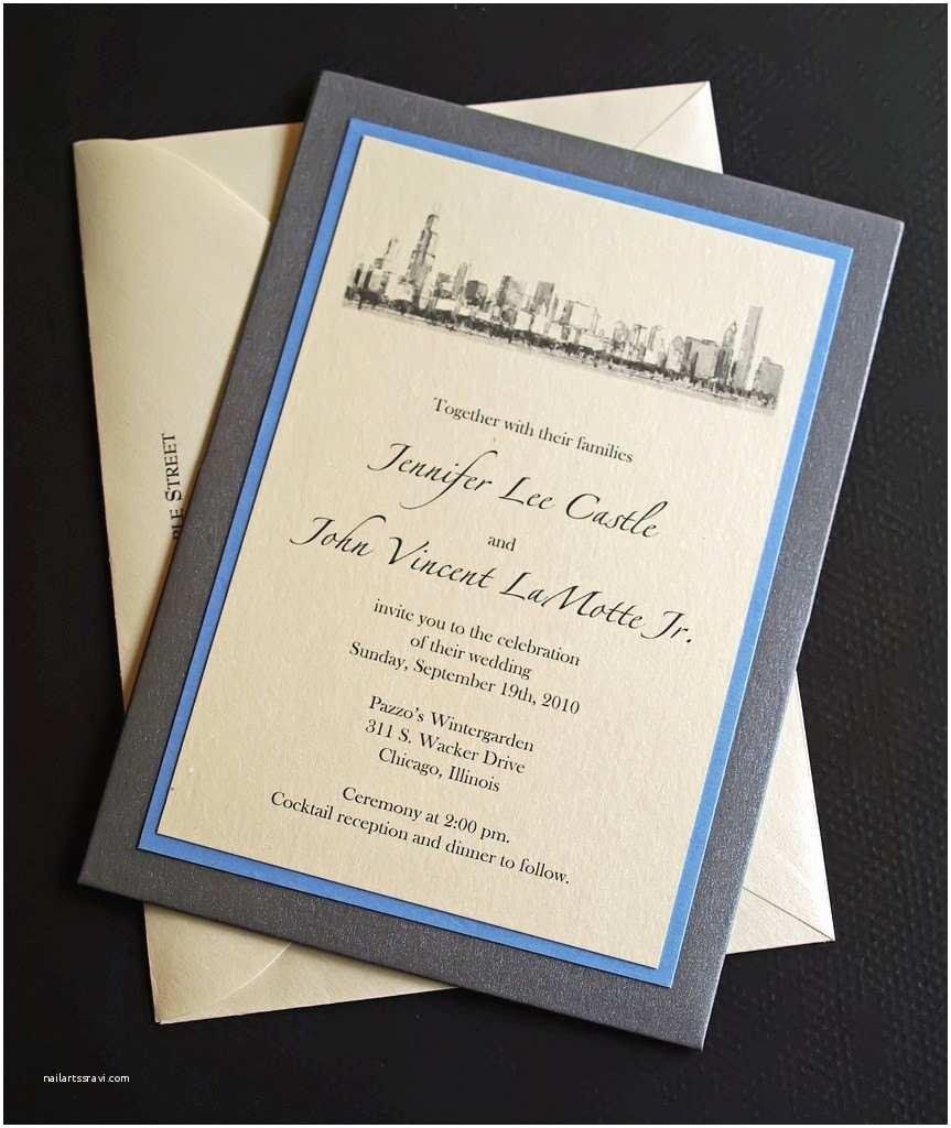 Wedding Invitations Chicago Chicago Wedding Invitation Custom Pocket Wedding Invitations