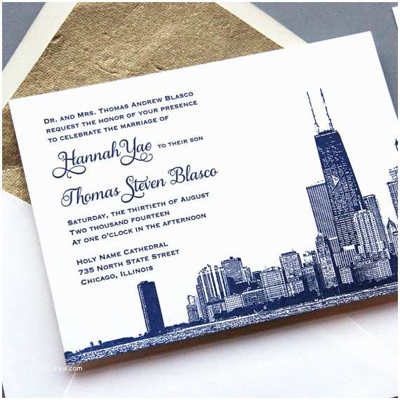 Wedding Invitations Chicago Letterpress Sample Wedding Invitation Set Chicago Skyline