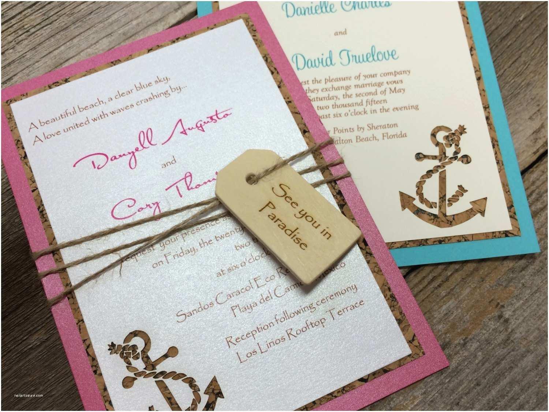 nautical wedding invitation anchor invitation cork paper laser cut paper nautical invitation wedding invite yacht club water of love 2