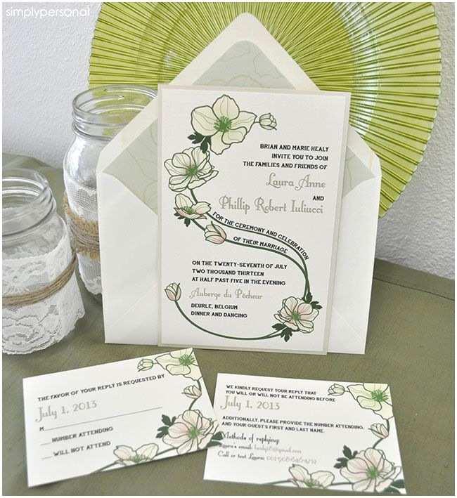 Wedding Invitations Dallas Wedding Invitations Green Flowers
