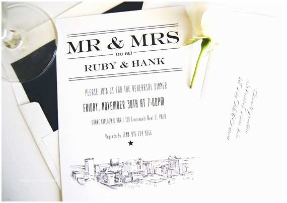 Wedding Invitations El Paso Tx El Paso Texas Skyline Rehearsal Dinner Invitations Set Of 25