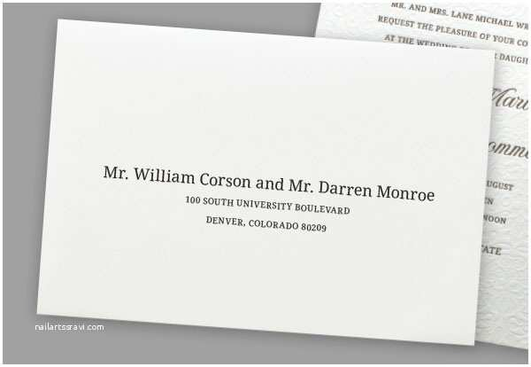 Wedding Invitations For Gay  Addressing Wedding Invitations To Same