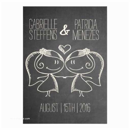 Wedding Invitations for Gay Couples Couple On Blackboard Lesbian Wedding Invitation