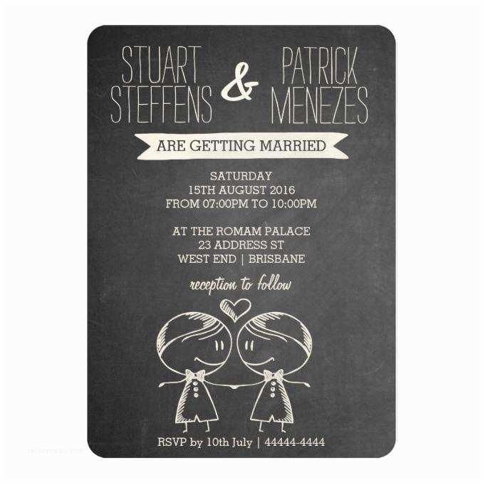 Wedding S For Gay Couples Doodle Couple On Blackboard Gay Wedding