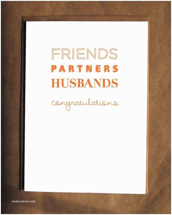 Wedding Invitations for Gay Couples Gay Wedding Card Friends Partners Husbands
