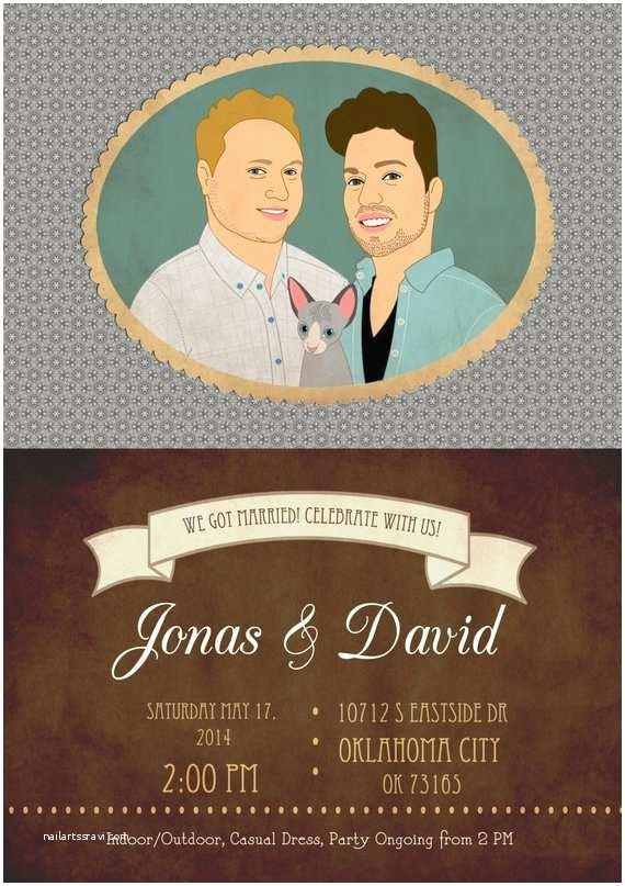 Wedding Invitations for Gay Couples Gay Wedding Invitation Custom Couple Portrait Printable