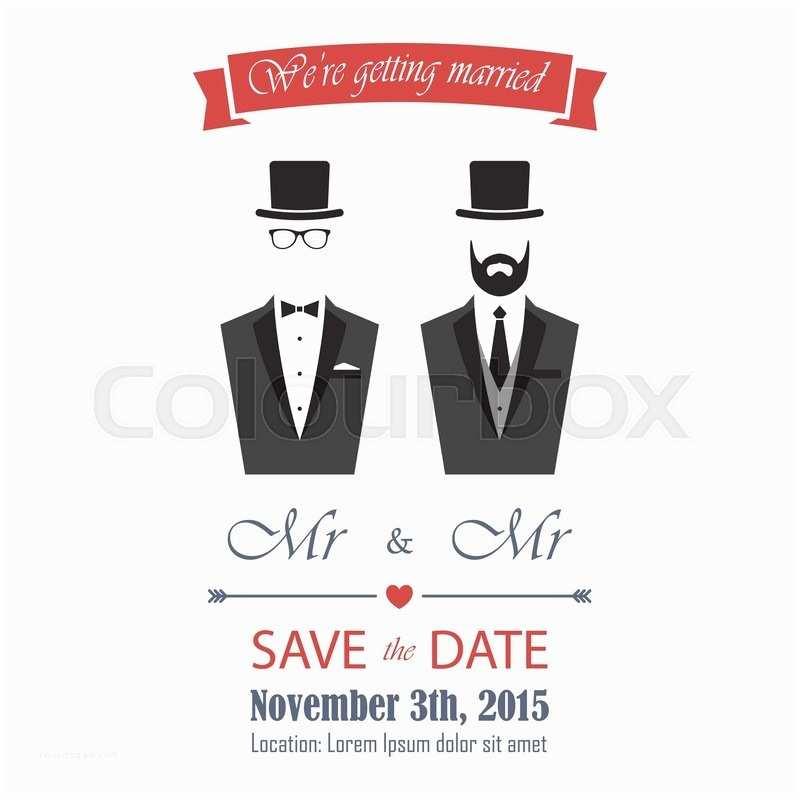 Wedding Invitations for Gay Couples Gay Wedding Invitation Eps 8 Card Template Vector