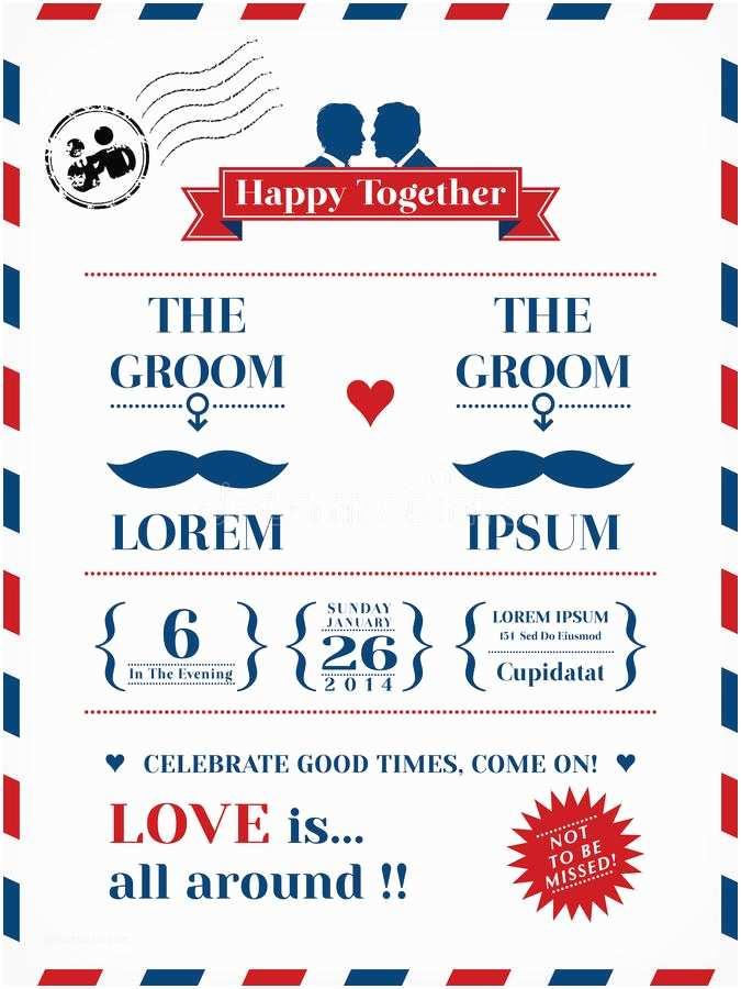 Wedding Invitations For Gay Couples Gay Wedding Invitation Stock Vector Illustration Of