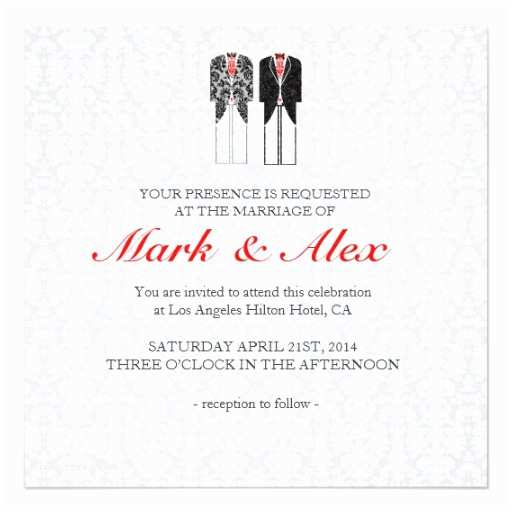 Wedding Invitations For Gay Couples Gray White & Red Same Couples Wedding Invite