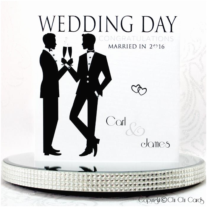 Wedding Invitations for Gay Couples Luxurious Gay Wedding Card Two Grooms Cheers