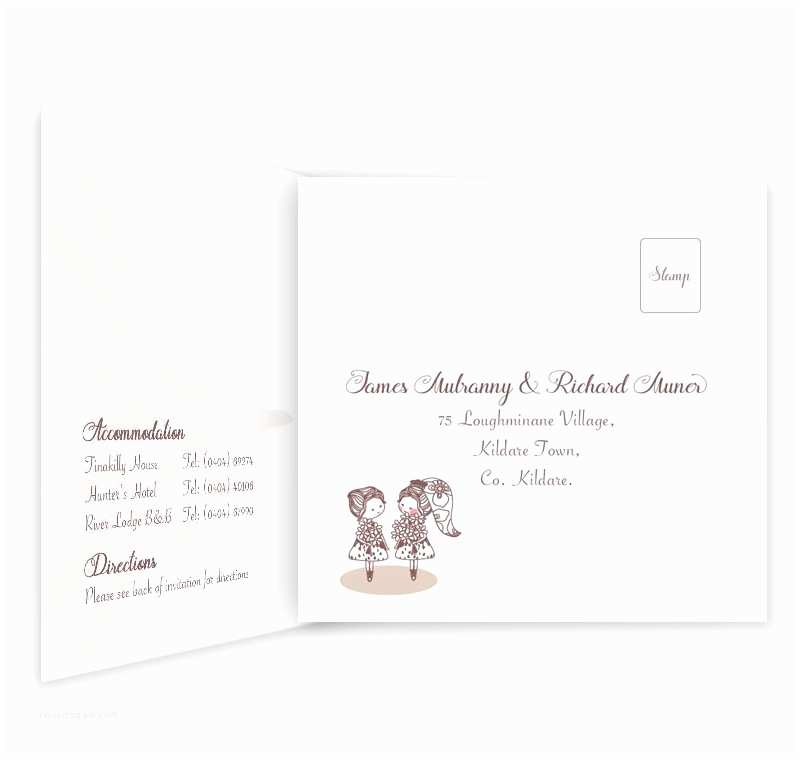 Wedding Invitations for Gay Couples Mrs & Mrs Tri Fold Wedding Invite & Rsvp Loving Invitations