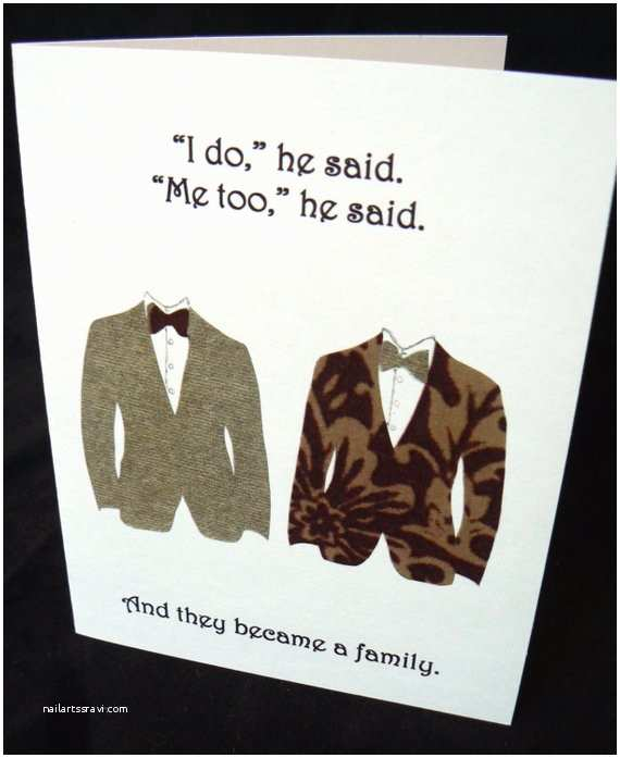 Wedding Invitations For Gay Couples Same Wedding Card By Lefthandartbycarly On