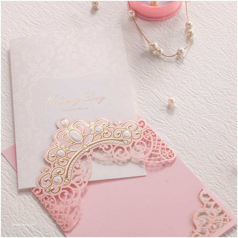 Wedding Invitations for Less Than A Dollar Elegant Pink Wedding Invitations Cards Gold Embossed