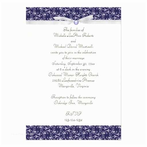 "Wedding Invitations for Less Than A Dollar Navy Blue Florentine Wedding Invitation 5"" X 7"" Invitation"