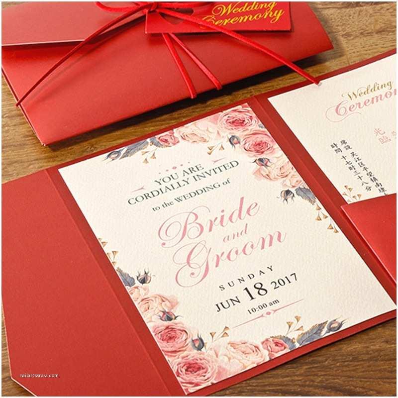 Wedding Invitations for Less Than A Dollar Pocket Red Wedding Invitations Unique Invitation Set