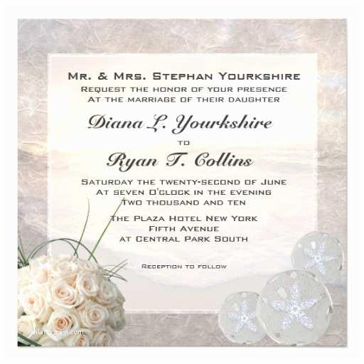 Wedding Invitations for Less Than A Dollar White Roses & Diamond Sand Dollar Wedding Custom Invites