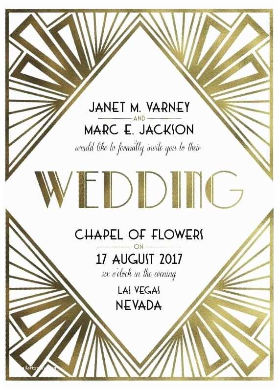Wedding Invitations for Under $1 Art Deco Wedding Invitation