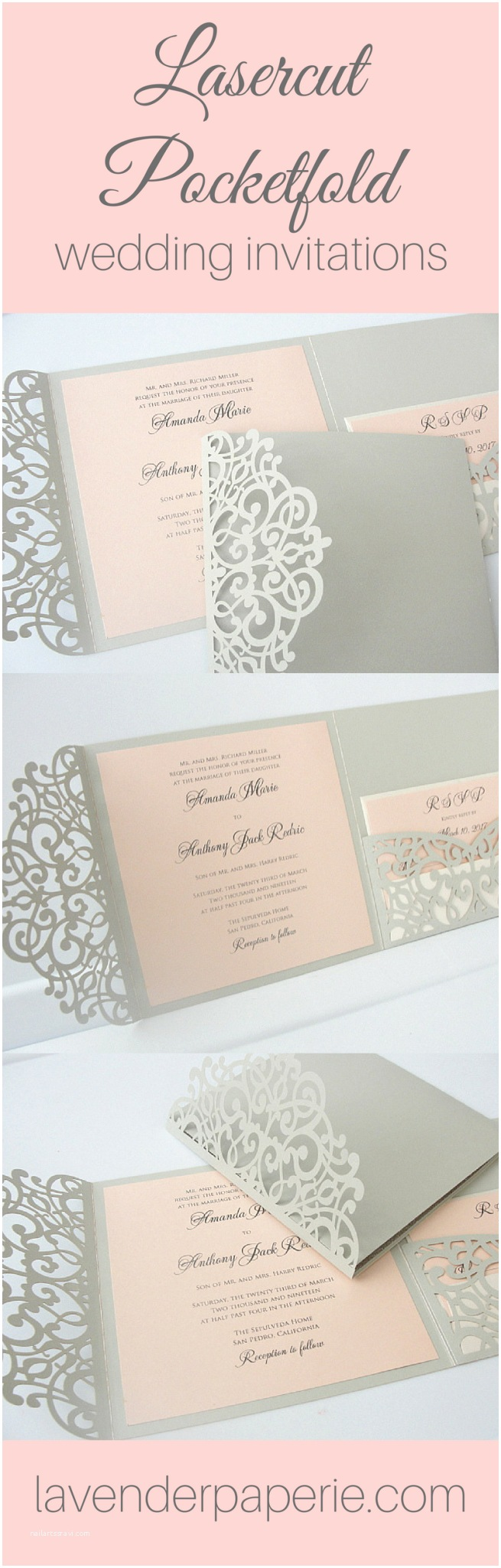 Wedding Invitations for Under $1 Laser Pocketfold Square 3 Light Silver • Lavender Paperie
