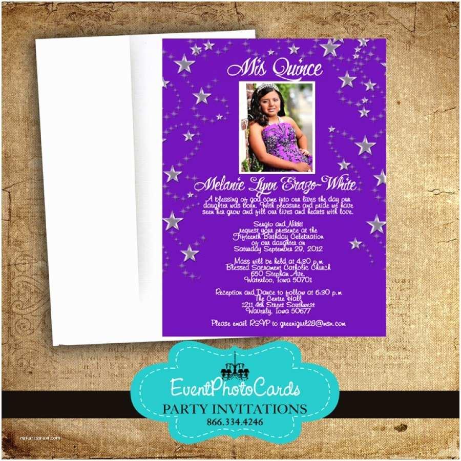 Wedding Invitations for Under $1 Purple Quinceanera Stars Invites Sweet 16