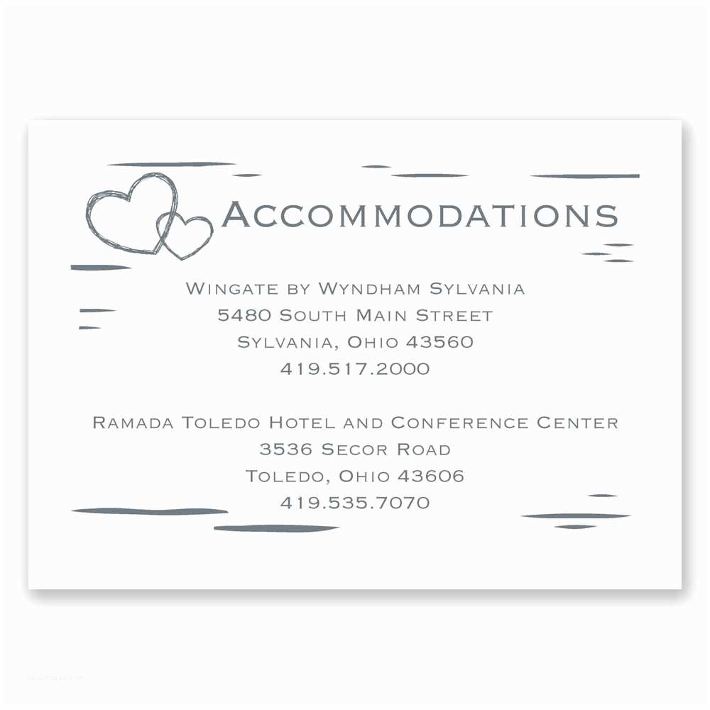 Wedding Invitations Hotel Accommodation Cards Birch Bark Heart Ac Modations Card