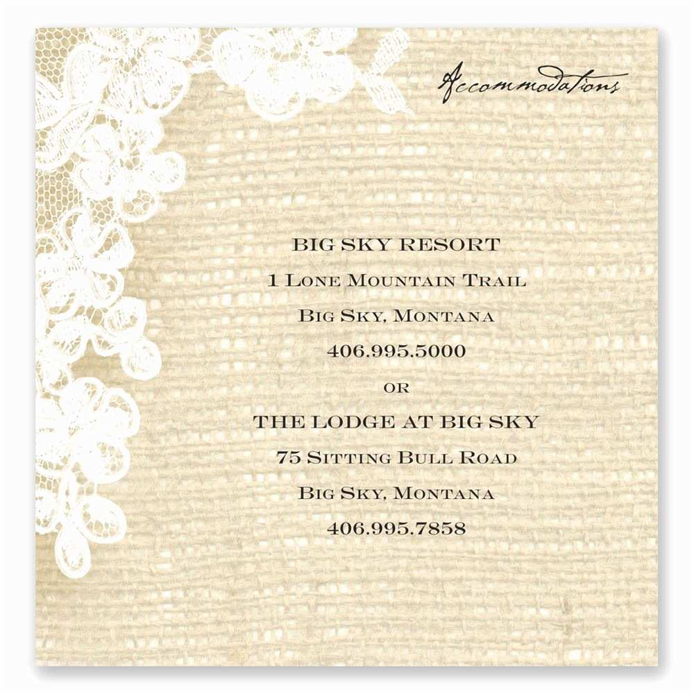 Wedding Invitations Hotel Accommodation Cards Burlap and Lace Ac Modations Card