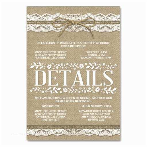 Wedding Invitations Hotel Accommodation Cards Burlap Lace Wedding Reception Hotel Ac Modation Card