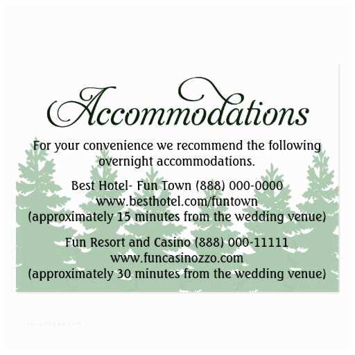 Wedding Invitations Hotel Accommodation Cards forest Wedding Ac Modation Reception Cards