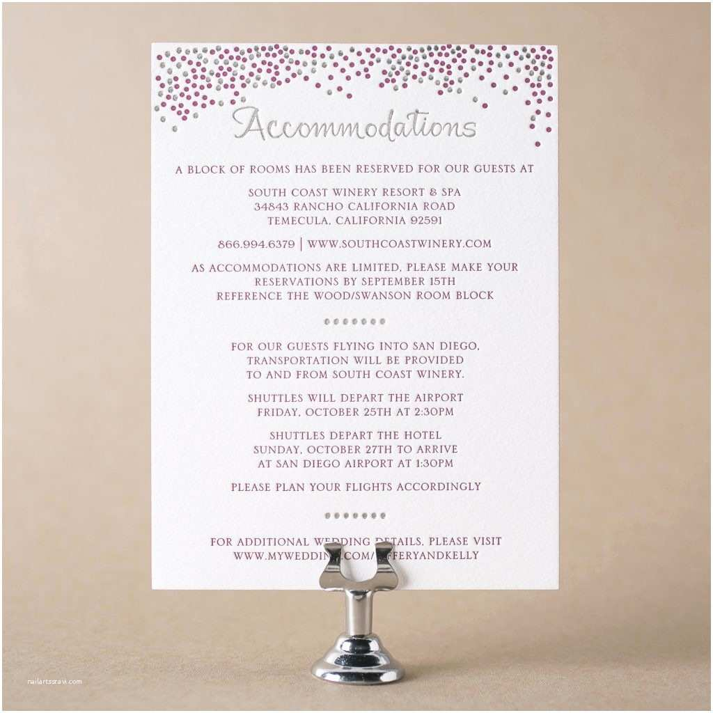 Wedding Invitations Hotel Accommodation Cards Letterpress Direction and Ac Modation Cards From Bella