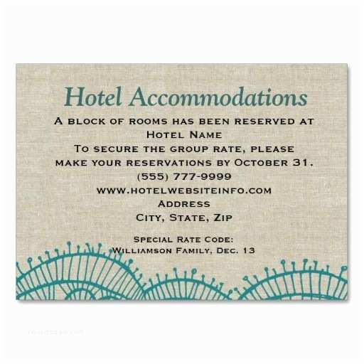 Wedding Invitations Hotel Accommodation Cards Linen Teal Lace Hotel Ac Modation Insert Cards