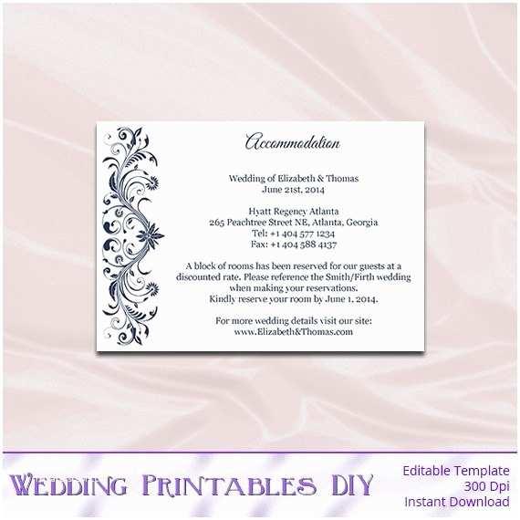 Wedding Invitations Hotel Accommodation Cards Navy Wedding Enclosure Cards Template Diy Blue Hotel