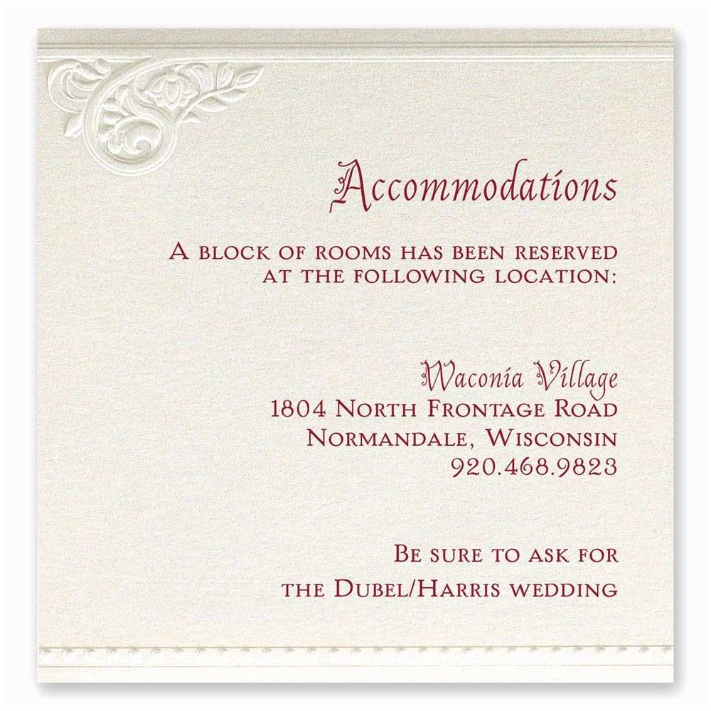 Wedding Invitations Hotel Accommodation Cards Pearls and Lace Ac Modations Card