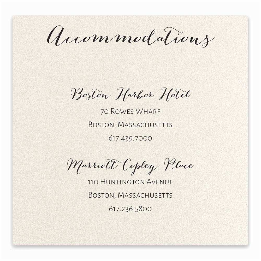 Wedding Invitations Hotel Accommodation Cards total Elegance Ac Modation Card