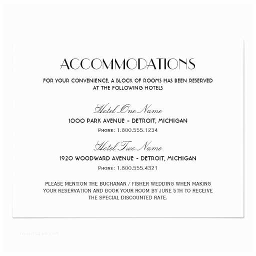 Wedding Invitations Hotel Accommodation Cards Wedding Ac Modation Card Art Deco Style